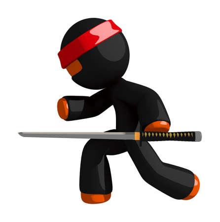 samurai sword: Orange Man Ninja Warrior Warrior Stealth with Sword