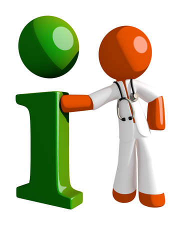 physiotherapist: Orange Man doctor with Info Icon Stock Photo