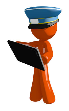 Orange Man postal mail worker  Holding Tablet or Computer Device Stock Photo