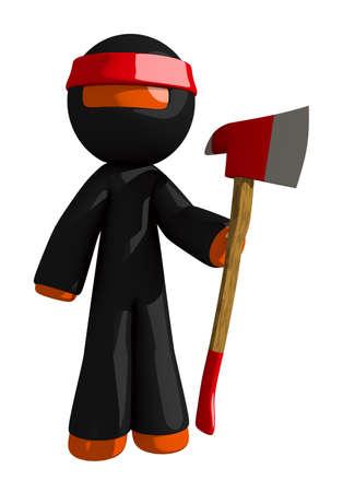 ax man: Orange Man Ninja Warrior Posing with Ax Stock Photo