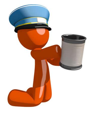 man begging: Orange Man postal mail worker  Asking for Charity