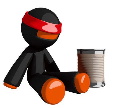 man begging: Orange Man Ninja Warrior Beggar