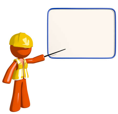 space cartoon: Orange Man Construction Worker in Seminar