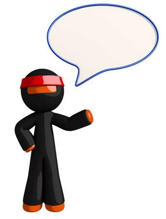 bubble speach: Orange Man Ninja Warrior Ninja Word Bubble