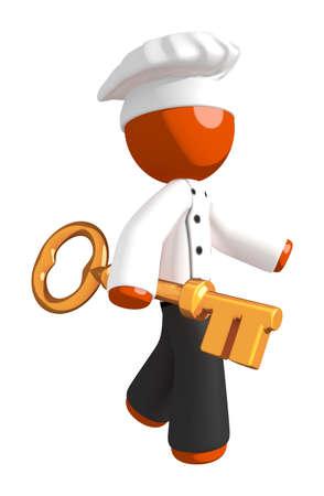 professional chef: Orange Man Chef Walking with Large Key