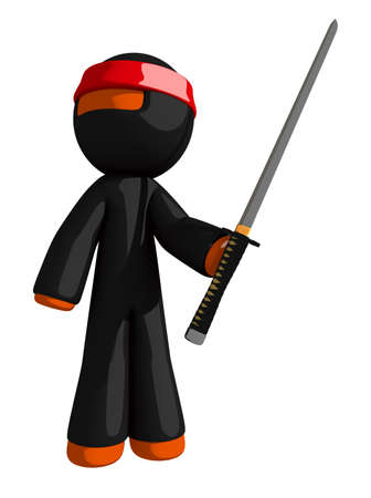 katana: Orange Man Ninja Warrior posing with Katana or Sword