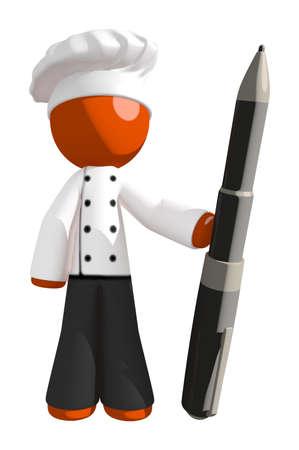 Orange Man Holding Large Pen