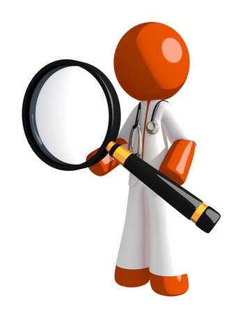 physiotherapist: Orange Man doctor Standing with Magnifying Glass