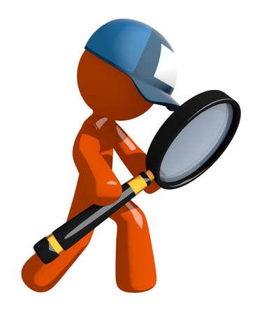 mailman: Orange Man postal mail worker Looking through Magnifying Glass