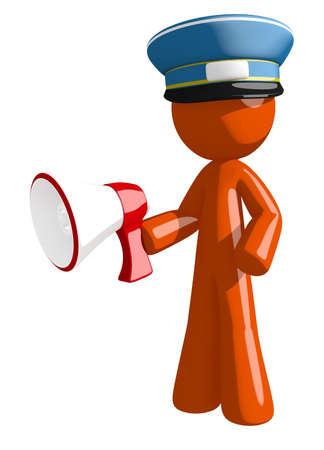 orange man: Orange Man postal mail worker  Holding Megaphone Stock Photo