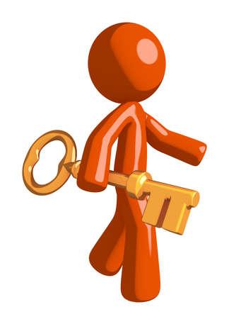 orange man: Orange Man Walking with Gold Key