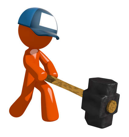 Orange Man postal mail worker  Hitting with Sledge Hammer