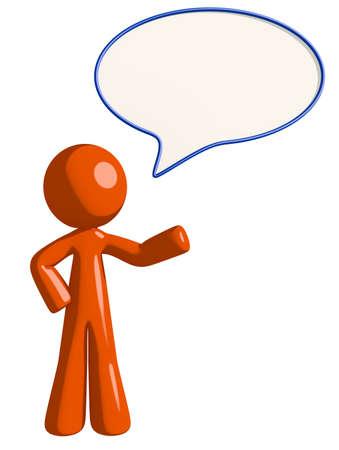 word bubble: Orange Man Word Bubble Stock Photo