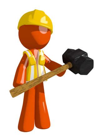 arquitecto caricatura: Orange Man trabajador de construcci�n Hombre que sostiene el gigante Sledge Hammer