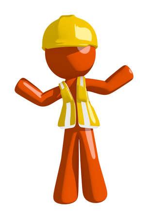 arquitecto caricatura: Orange Man trabajador de construcci�n ap�tico o confuso Foto de archivo