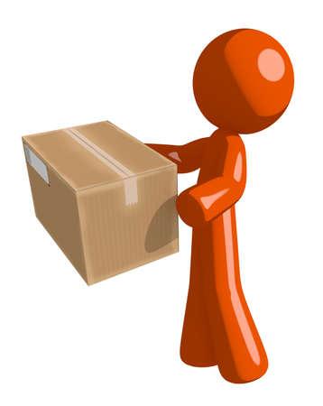 delivering: Orange Man Delivering a Package