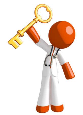 physiotherapist: Orange Man doctor Holding Up Key to Success Stock Photo