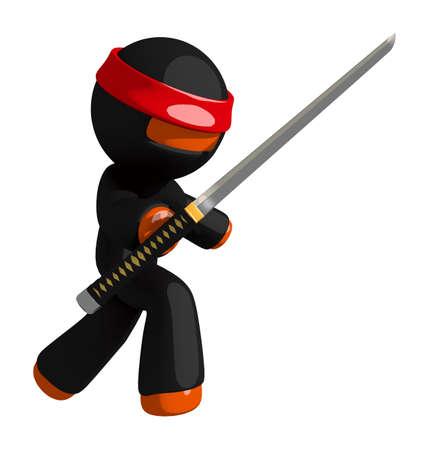 stance: Orange Man Ninja Warrior Sword Defence Stance