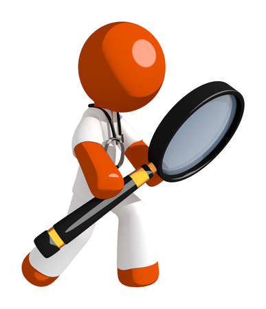 see a doctor: Orange Man doctor Looking through Magnifying Glass
