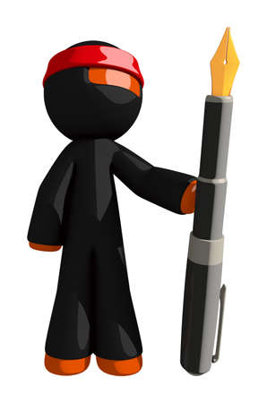 fountains: Orange Man Ninja Warrior Holding Giant Fountain Pen