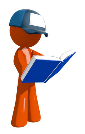 student studying: Orange Man postal mail worker  Standing Reading Book Stock Photo