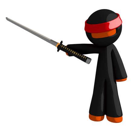 samurai sword: Orange Man Ninja Warrior Pointing with Sword