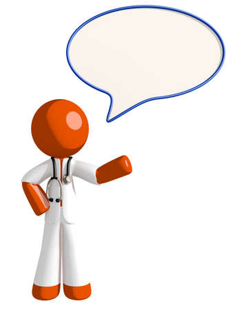 communication cartoon: Orange Man doctor with Word Bubble