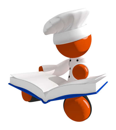 learning to cook: Orange Man Chef Reading Large  Recipe Cook Book While Sitting