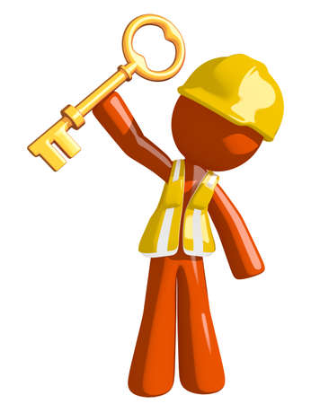 orange man: Orange Man Construction Worker  Holding Up Key to Success