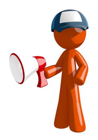 mailman: Orange Man postal mail worker  Holding Megaphone Stock Photo