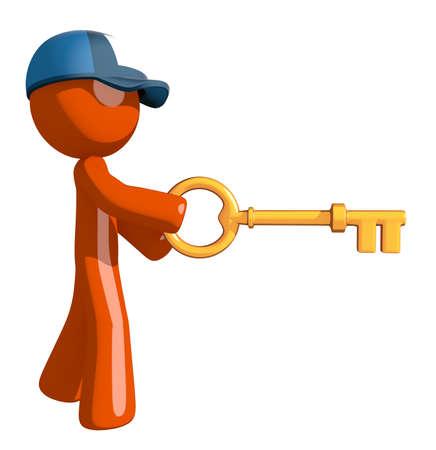 inserting: Orange Man postal mail worker  Inserting Key Stock Photo