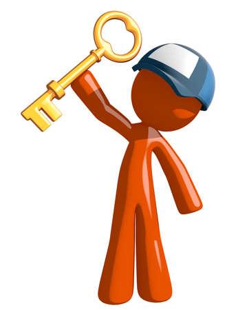 job opening: Orange Man postal mail worker  Holding Up Key to Success