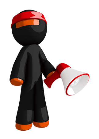 japanese people: Orange Man Ninja Warrior Marketing Hero Pose with Megaphone Stock Photo