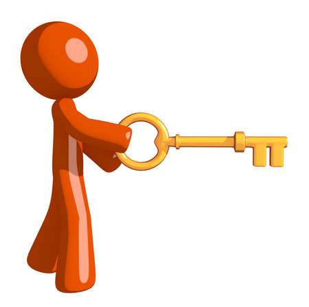 inserting: Orange Man Inserting Key