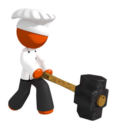 cooking food: Orange Man Chef Hitting With Sledge Hammer Stock Photo