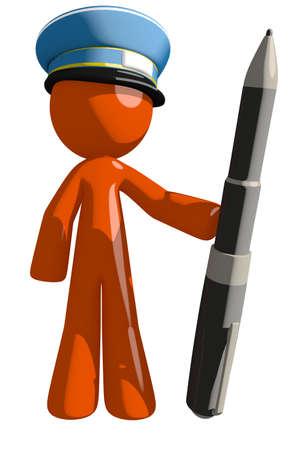 mail man: Orange Man postal mail worker  Holding Giant Pen Stock Photo