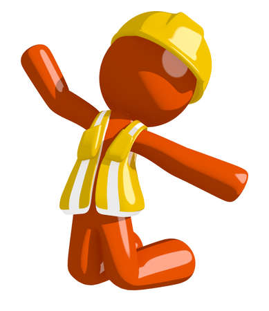 kneeling: Orange Man Construction Worker  Jumping or Kneeling Stock Photo