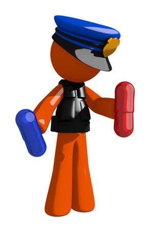 personas enfermas: Orange Man oficial de polic�a con pastillas