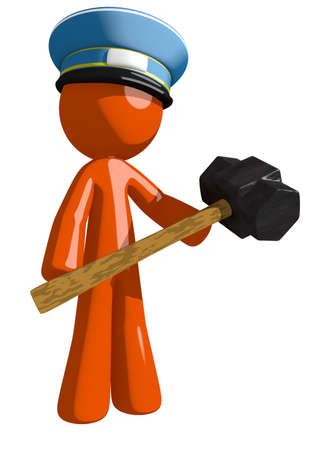 orange man: Orange Man postal mail worker  Man Holding Giant Sledge Hammer Stock Photo