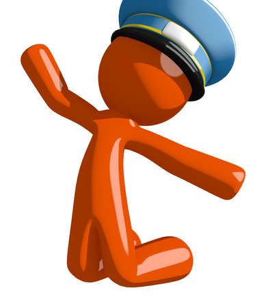 mail man: Orange Man postal mail worker  Jumping or Kneeling Stock Photo