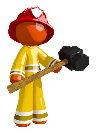 Orange Man Firefighter Holding Sledge Hammer