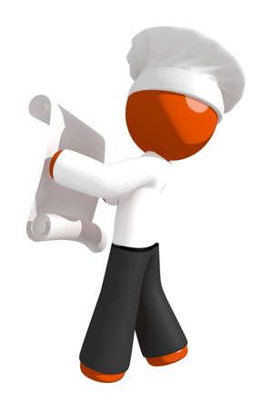 draftsmanship: Orange Man Chef Looking at Recipe Stock Photo