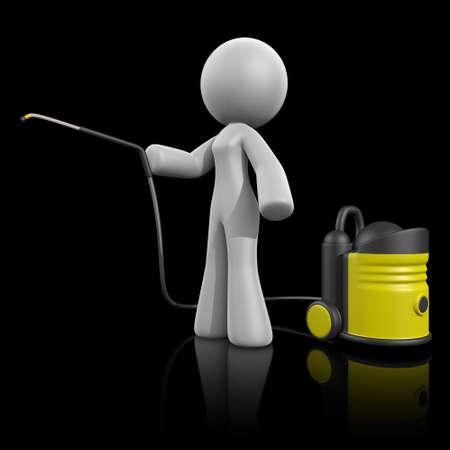 amarillo y negro: 3d señora con agua a presión. Reflexión de fondo oscuro.
