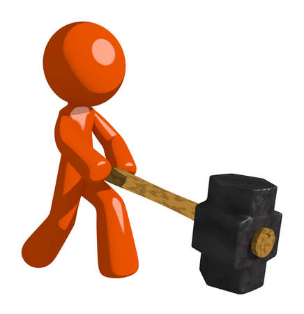 oppression: Orange Man Hitting with Sledge Hammer Stock Photo
