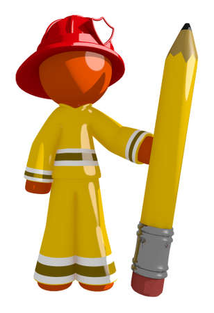 cartoon orange: Orange Man Firefighter Holding Giant Pencil