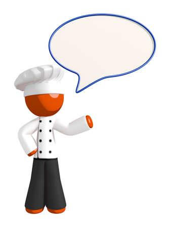 comic bubble: Orange Man Chef Word Bubble