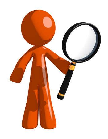man holding: Orange Man Holding Magnifying Glass