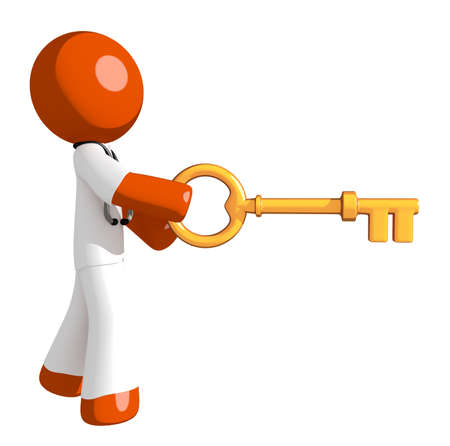 physiotherapist: Orange Man doctor Inserting Key