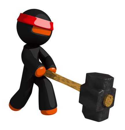Orange Man Ninja Warrior Using Giant Sledge Hammer