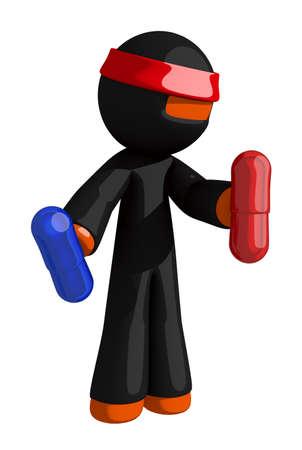 samurai sword: Orange Man Ninja Warrior Enhancement Pills Stock Photo